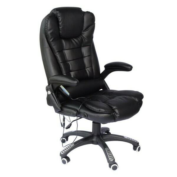 HOMCOM® Massage-Chefsessel Gaming Stuhl mit Wärmefunktion drehbar schwarz