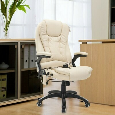 HOMCOM® Bürosessel Massage und Wärmefunktion Gaming Stuhl Creme