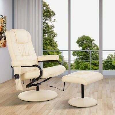 HOMCOM® Massagesessel mit Hocker, Vibrationsmassage und Wärmefunktion creme