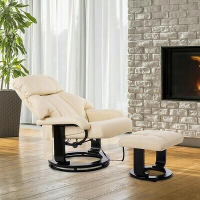HOMCOM® Massagesessel- TV-Sessel Massage- und Heizfunktion inkl Hocker creme
