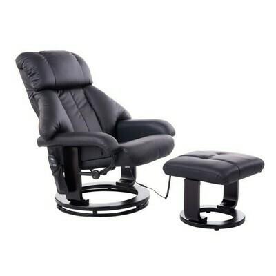 HOMCOM® Massagesessel mit Heizung - TV Sessel inkl Hocker schwarz mit Wärmefunktion und Vibration