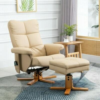 HOMCOM® Massagesessel mit Fußhocker Relaxsessel Heizfunktion 145° Neigung PU Creme 80 x 86 x 99 cm