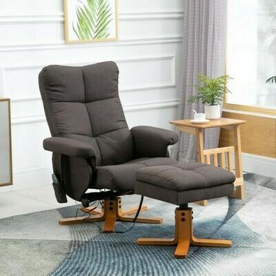 HOMCOM® Massagesessel mit Fußhocker Relaxsessel Heizfunktion TV Sessel Polyester Braun 145° Neigung 80 x 86 x 99 cm