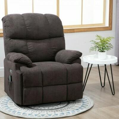 HOMCOM® Massagesessel Relaxsessel mit Wärmefunktion und Massage Fernbedienung PU Braun 94 x 96 x 104 cm