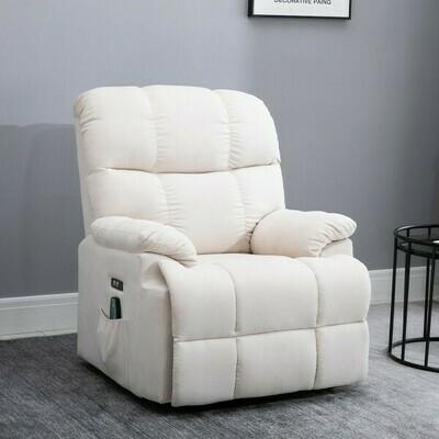 HOMCOM® Massagesessel Relaxsessel mit Wärmefunktion und Massage Fernbedienung PU Cremeweiß 94 x 96 x 104 cm