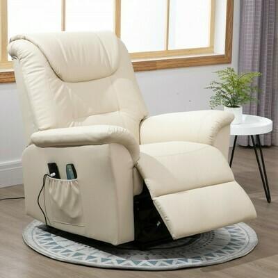 HOMCOM® Massagesessel Massagestuhl Wärmefunktion und Massage Fernbedienung PU Cremeweiß 100 x 93 x 105 cm