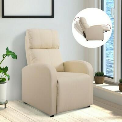 HOMCOM® Relaxsessel Fernsehsessel mit Liegefunktion Kunstleder creme