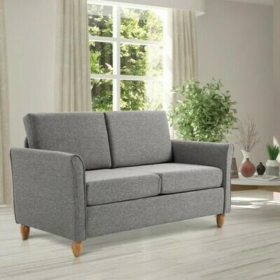 HOMCOM® Doppelsofa 2-Sitzer-Sofa abnehmbar mit Kissen 200 kg-Belastbarkeit Leinen Schaumstoff Hellgrau 141 x 65 x 78 cm