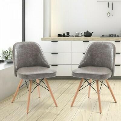 HOMCOM® 2er-Set Relaxsessel Loungesessel Polstersessel Cocktailsessel Stuhl PU + Metall + Buchenholz Grau