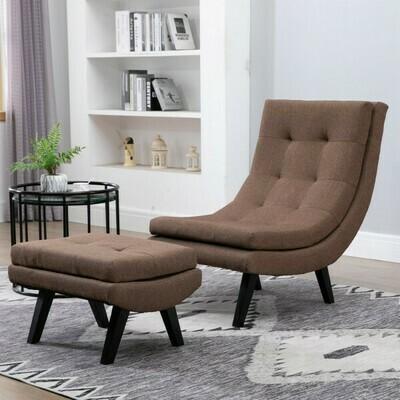 HOMCOM® Sessel mit Fußhocker Relaxliege Chaiselongue Kautschukholzbeine Leinen Braun