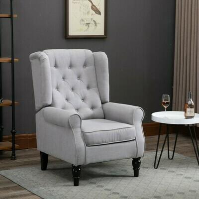 HOMCOM® Einzelsofa Relaxsessel Einzelstuhl mit Tufting Holzfüße Polyester Grau