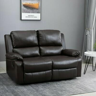HOMCOM® Doppelsofa Relaxliege Relaxsessel verstellbare Rückenlehnen Holzfüße PU Braun