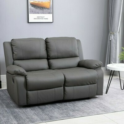 HOMCOM® Doppelsofa Relaxliege Relaxsessel verstellbare Rückenlehnen Holzfüße PU Grau