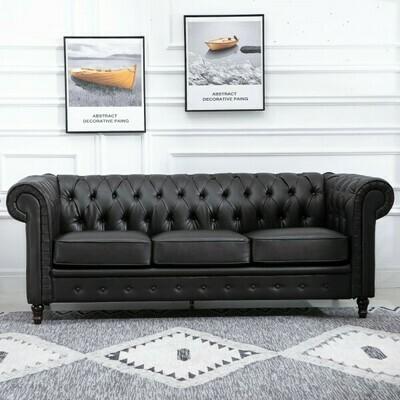 HOMCOM® 3-Sitzer-Sofa Polstersofa Weiche Sitzkissen mit Tufting Pflegeleicht PU