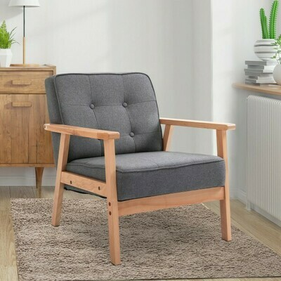 HOMCOM® Einzelsofa Loungesessel Polsterstuhl mit Armlehnen Holzrahmen Leinen Grau