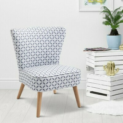 HOMCOM® Cocktailsessel mit Rückenlehne Polstersessel Leinen Sessel Holz Grau-Weiß gemustert