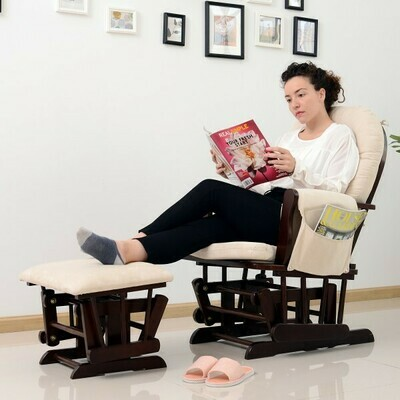 HOMCOM® Schaukelstuhl Stillstuhl Relaxsessel Kunstwildleder Braun