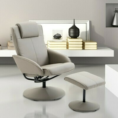 HOMCOM® Relaxsessel Fernsehsessel Armsessel 360° drehbar mit Fussstütze Grau