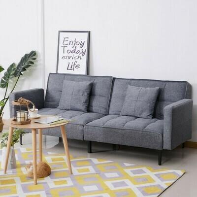 HOMCOM® Schlafsofa Sofabett Klappsofa 3-Sitzer mit Kissen Grau