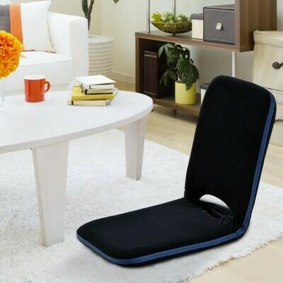 HOMCOM® Sitzkissen Sitzsack Bodenkissen mit Lehne klappbar dunkelblau