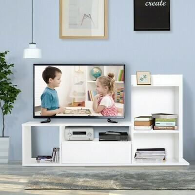 HOMCOM® Fernsehtisch Lowboard Fernsehschrank mit Schublade 4 Fächer Spanplatte Weiss