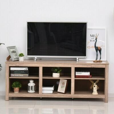 HOMCOM® TV Schrank Lowboard Fernsehtisch mit Viel Stauraum Spanplatte Natur