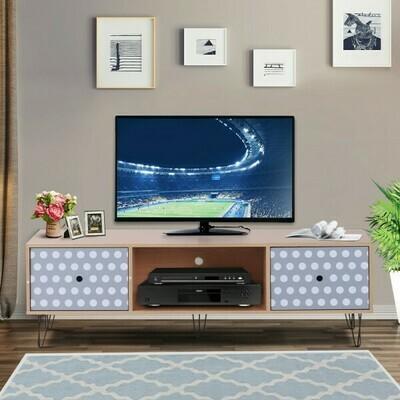 HOMCOM® Fernsehtisch Fernsehschrank TV-Board Lowboard Retro-Stil mit Punktmuster Holz