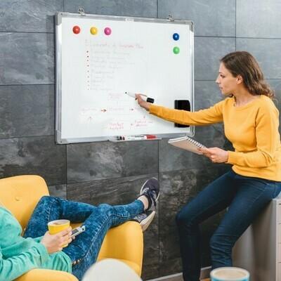 HOMCOM® Whiteboard Magnettafel mit Alurahmen mit Zubehör 90x60cm