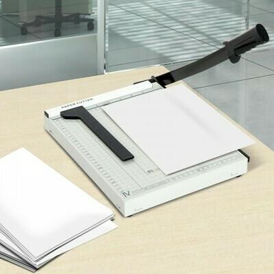 HOMCOM® Papierschneidemaschine Hebelschneider Papierschneider Metall Weiss