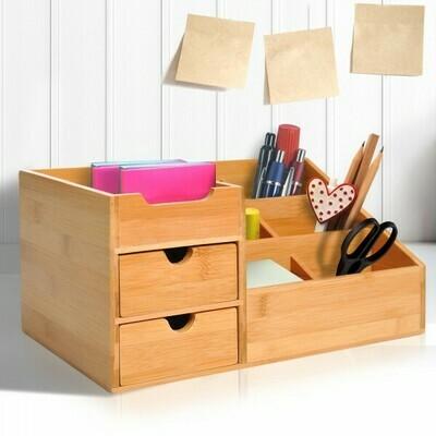 HOMCOM® Schreibtisch Organizer Schubladenbox Büro 2 Schublade Natur