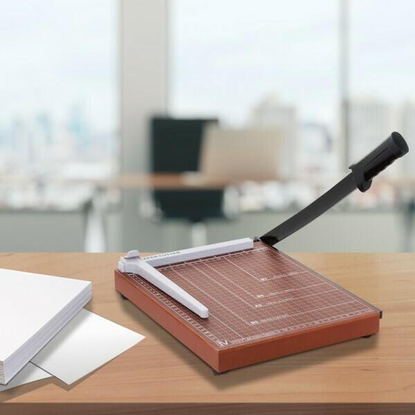 HOMCOM® Papierschneidemaschine Hebelschneider Papierschneider Metall Braun