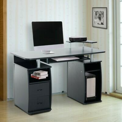 HOMCOM® Computertisch Schreibtisch mit Druckerablage PC Tisch Schwarz