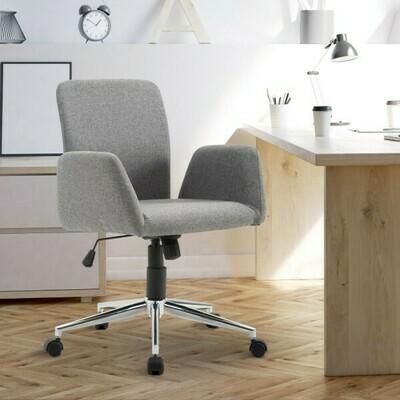 HOMCOM® Bürostuhl Drehstuhl Schreibtischstuhl Armsessel Stoff Grau