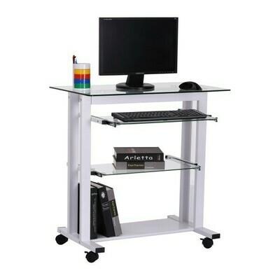 HOMCOM® Glas-Computertisch Schreibtisch Bürotisch PC Tisch Weiss