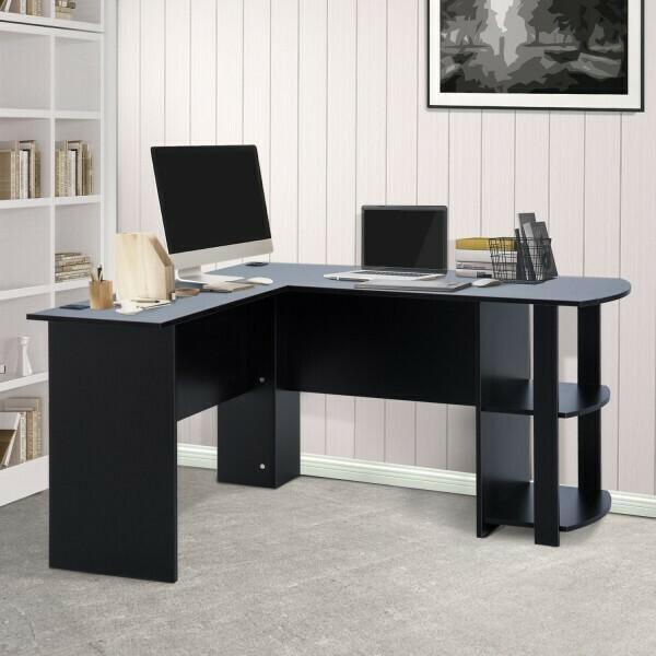 HOMCOM® Eckschreibtisch Schreibtisch Staufach Schwarz