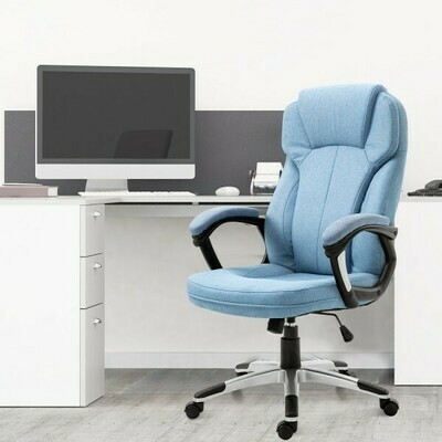 Vinsetto® Bürostuhl Computerstuhl Drehstuhl höhenverstellbar Wippfunktion Hellblau Leinen