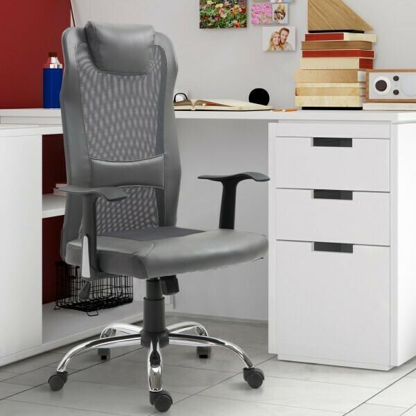 Vinsetto® Bürostuhl höhenverstellbar Chefsessel Schreibtischstuhl Gaming Stuhl ergonomisch PU grau