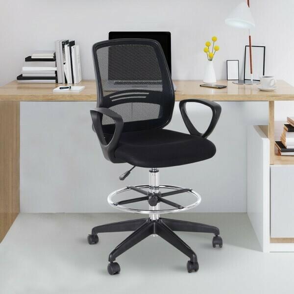 Vinsetto® Stehhilfe Arbeitshocker mit Rückenlehne Höhen- & Neigeverstellbar 360° Metall