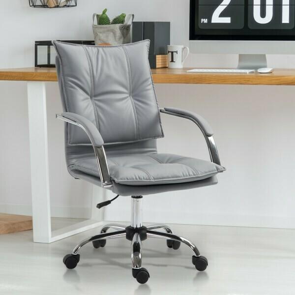 Vinsetto® Bürostuhl Drehstuhl höhenverstellbar rollbar ergonomisch PU grau