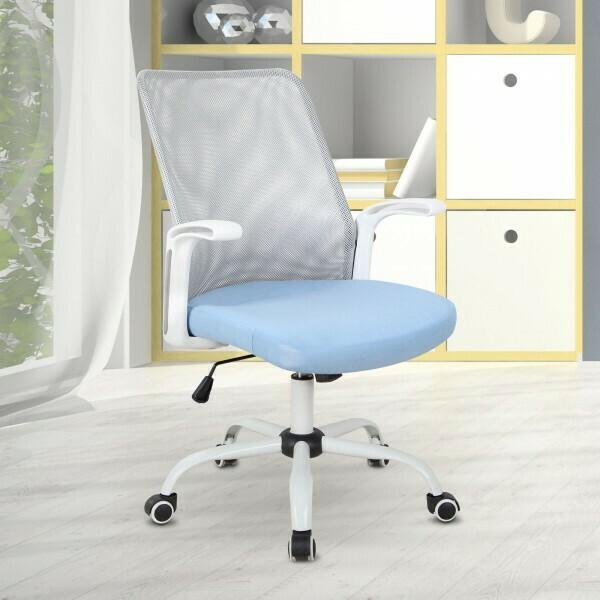 Vinsetto® Bürostuhl Computerstuhl Drehstuhl Schreibtischstuhl höhenverstellbar Kunststoff Blau