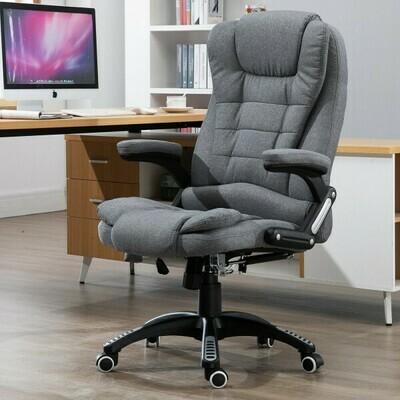 Vinsetto® Bürostuhl Massagesessel Drehstuhl höhenverstellbar 130° Winkel Leinen Grau