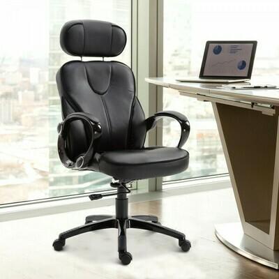 Vinsetto® Bürostuhl Drehstuhl mit Verstellbarer Kopfstütze Schwarz