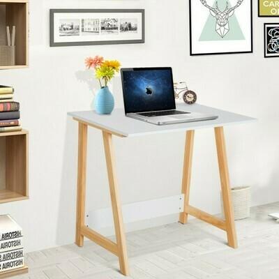 HOMCOM® Schreibtisch Computertisch Bürotisch Natur-Weiss