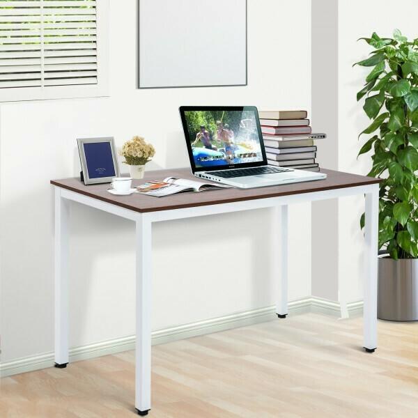 HOMCOM® Computertisch Schreibtisch Bürotisch PC Tisch Walnussfarbe und Weiss