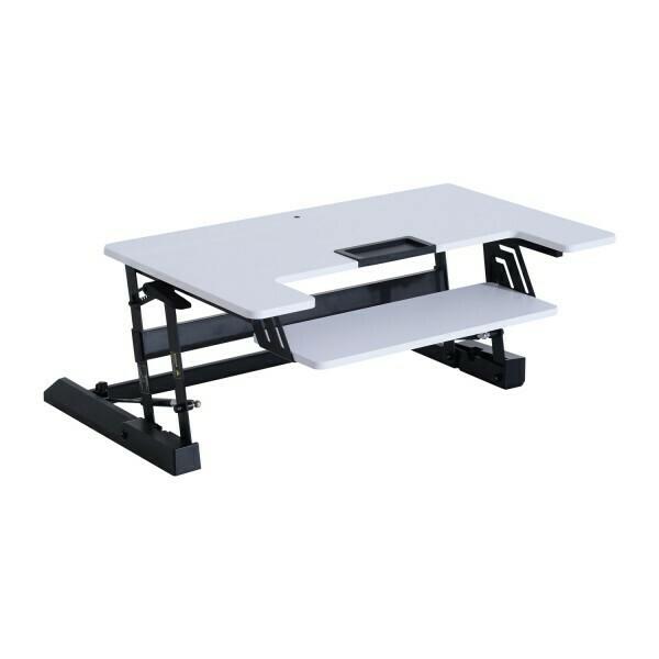 HOMCOM® Aufsatz Schreibtisch Weiss Erhöhung höhenverstellbar