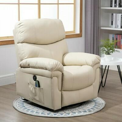 HOMCOM® Massagesessel Relaxsessel mit Wärmefunktion und Vibration 160°-Liegeposition PU Cremeweiss