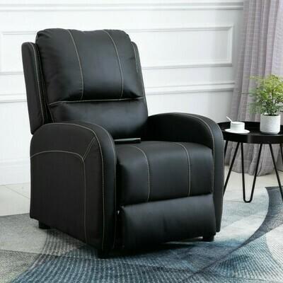 HOMCOM® Relaxsessel Fernsehsessel Wohnzimmer 165° Liegewinkel 160 kg belastbar PU Schwarz