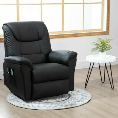 HOMCOM® Massagesessel Massagestuhl Wärmefunktion und Massage Fernbedienung PU Schwarz