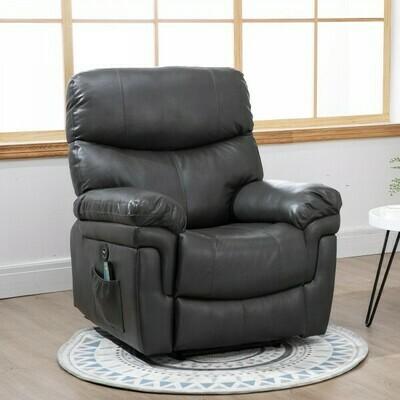 HOMCOM® Massagesessel Relaxsessel mit Wärmefunktion und Vibration 160°-Liegeposition PU Grau
