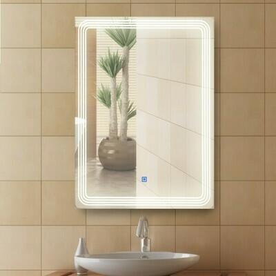 HOMCOM® Badspiegel LED Lichtspiegel Badezimmer Wandspiegel Alu 39W